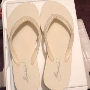 Ivory color flip flop wedges